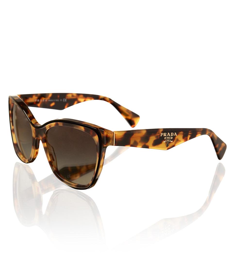 82cc0411e216 ... australia lyst prada tortoiseshell square cat eye sunglasses in  metallic aedf8 562ab