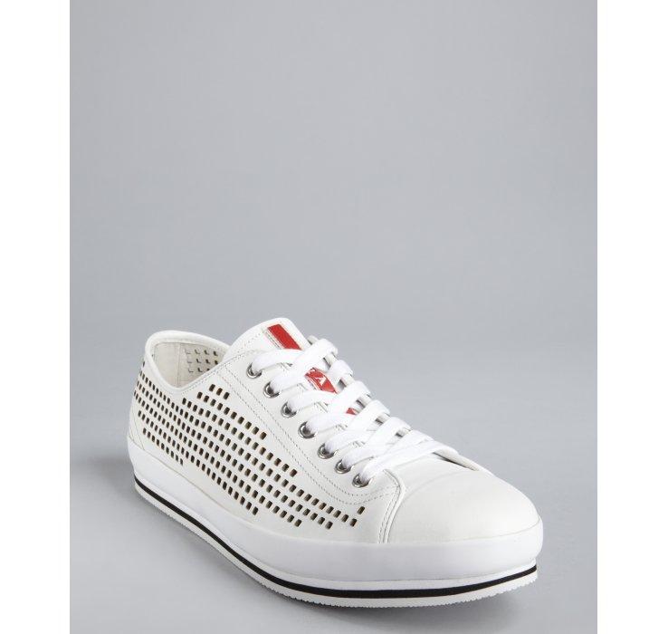 Prada Sport White Perforated Leather Cap Toe Sneakers In