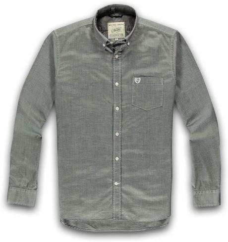 Racing green long sleeve button down collar shirt in gray for Mens grey button down dress shirt