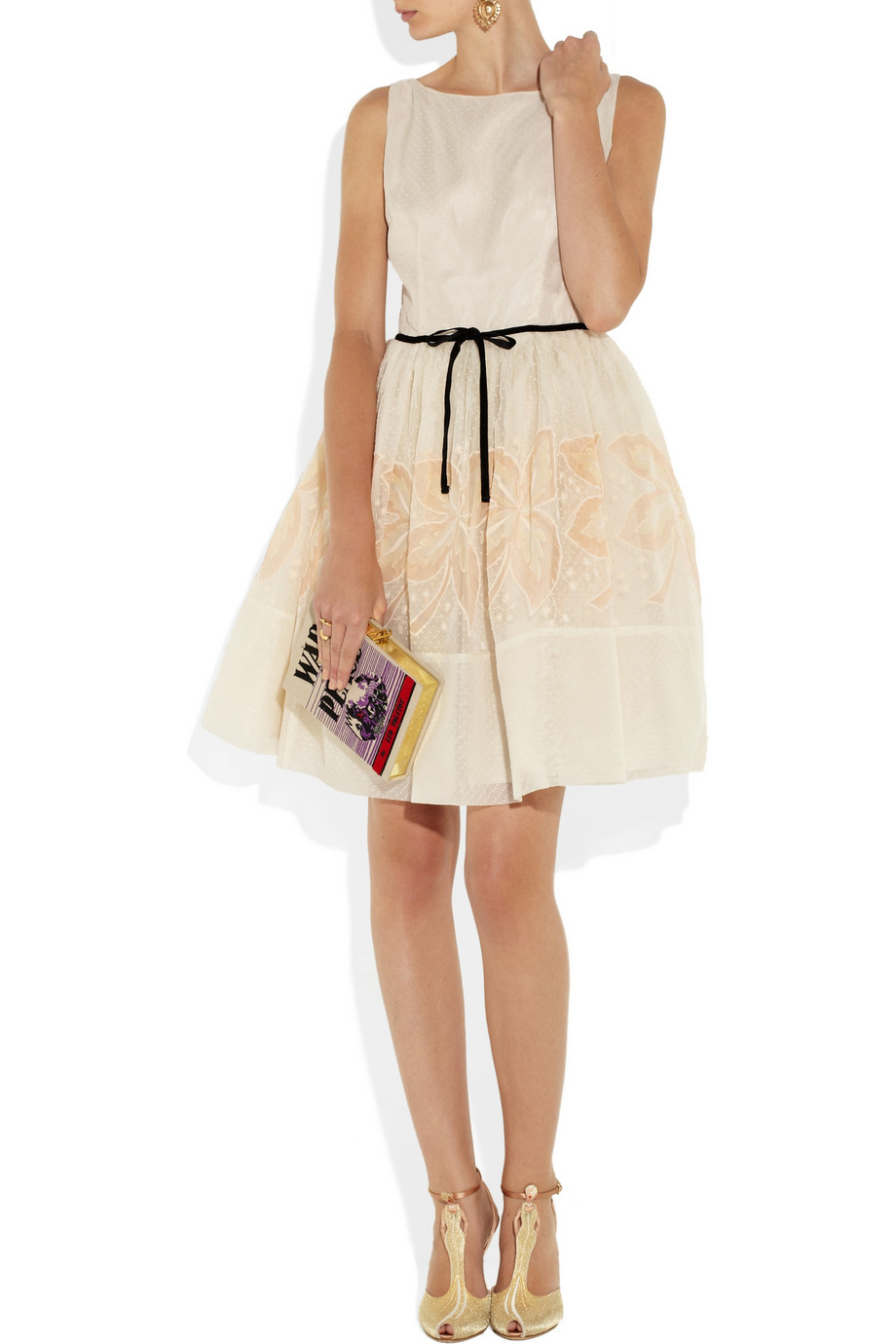Lyst Red Valentino Embroidered Silk Mini Dress In White