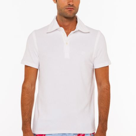 Vilebrequin terry cloth polo shirt in white for men lyst for Mens terry cloth polo shirt
