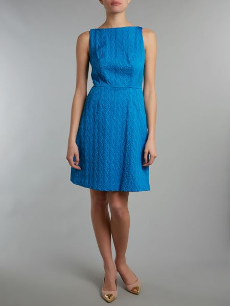 Adrianna Papell Jacquard Fit And Flare Dress In Blue