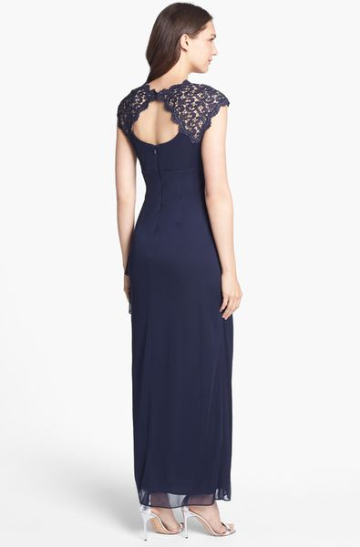 Alex Evenings Lace Yoke Faux Wrap Mesh Gown In Blue Navy