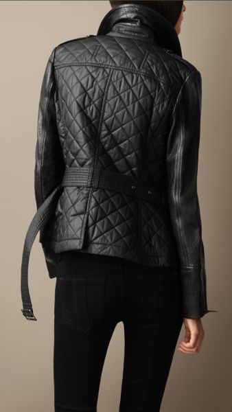 Burberry Leather Detail Quilted Jacket In Black Lyst