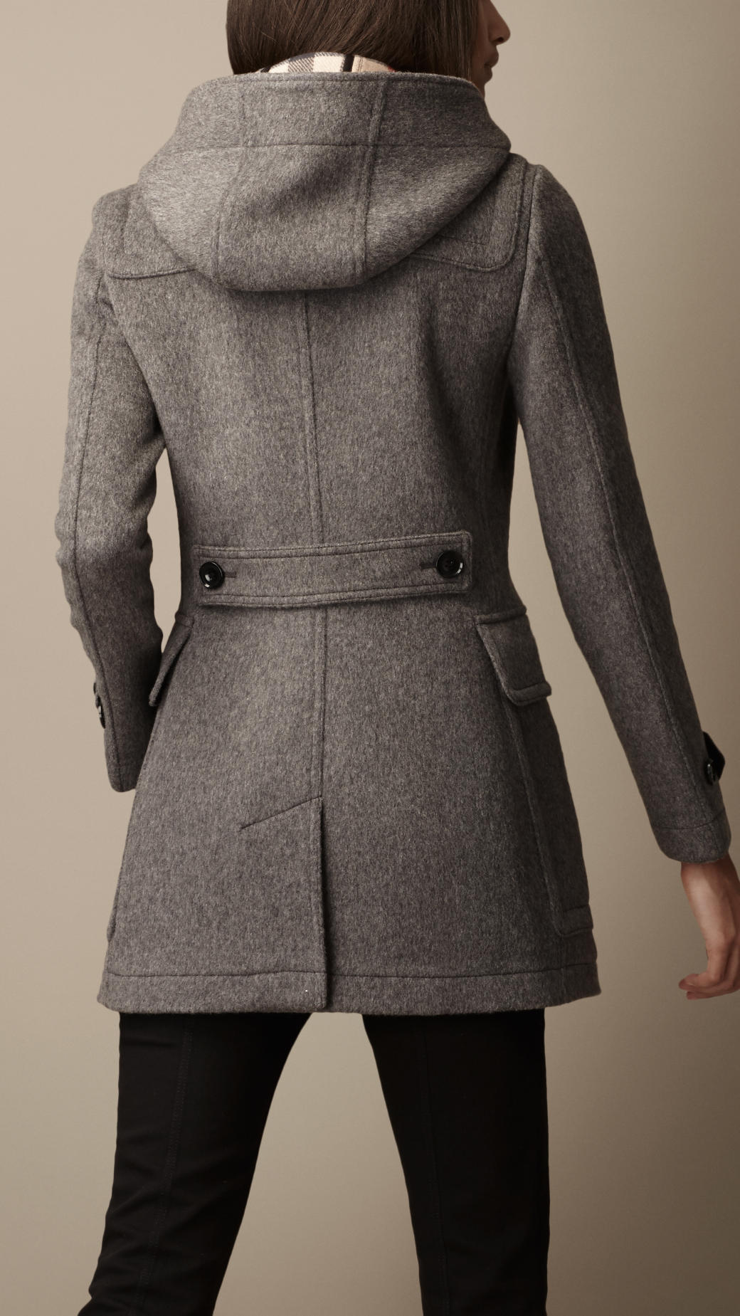 Burberry Fitted Duffle Coat in Gray | Lyst