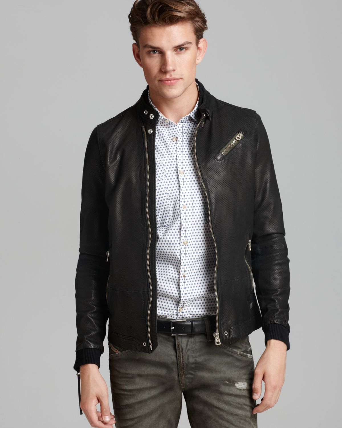 Diesel Lohar Perforated Leather Jacket in Black for Men | Lyst