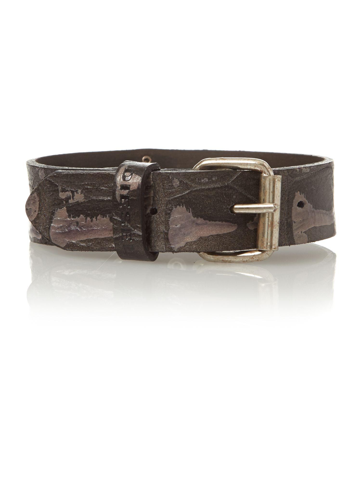 Diesel Logo Keeper Cuff Bracelet In Brown For Men Lyst