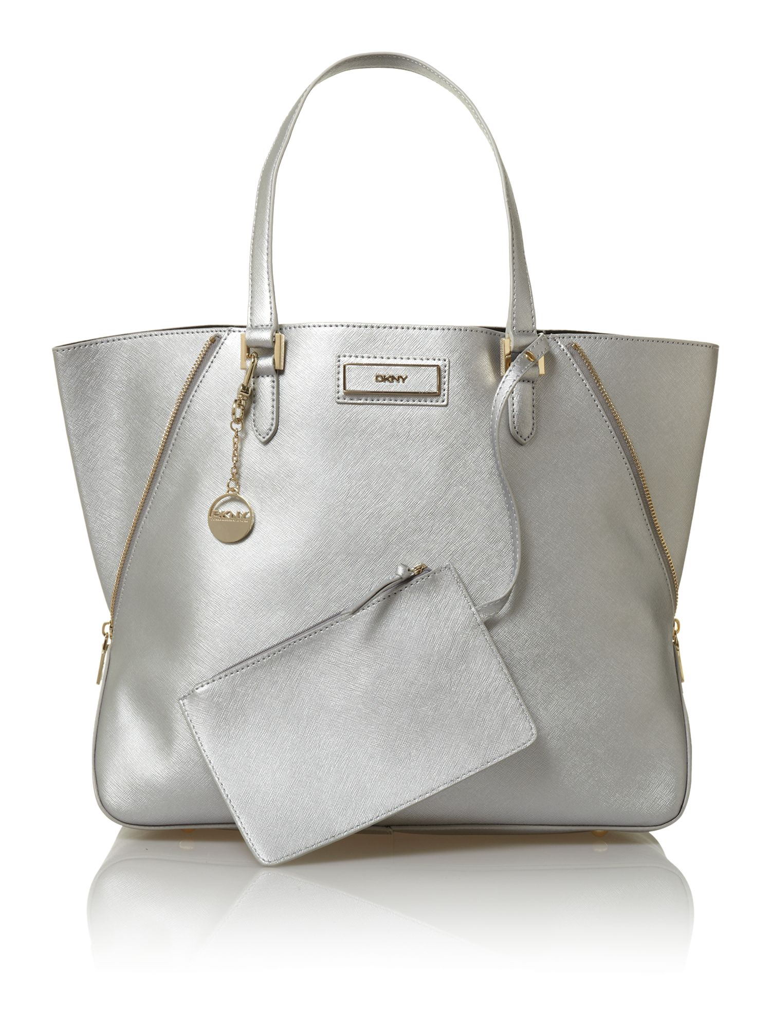 Dkny Saffiano Metallic Large Tote Bag in Gray | Lyst