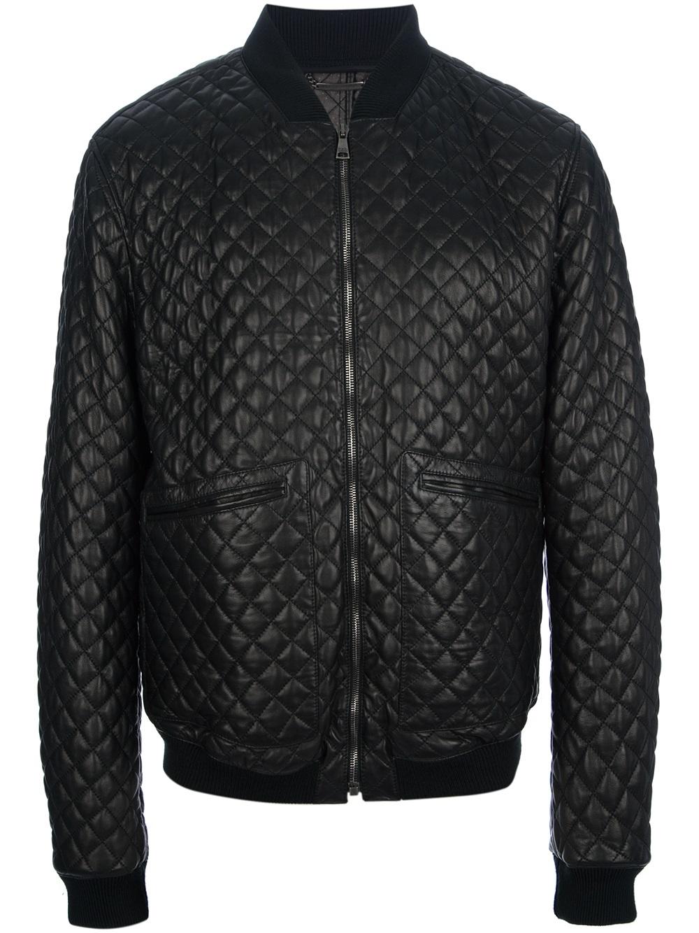 Lyst Dolce Amp Gabbana Quilted Bomber Jacket In Black For Men