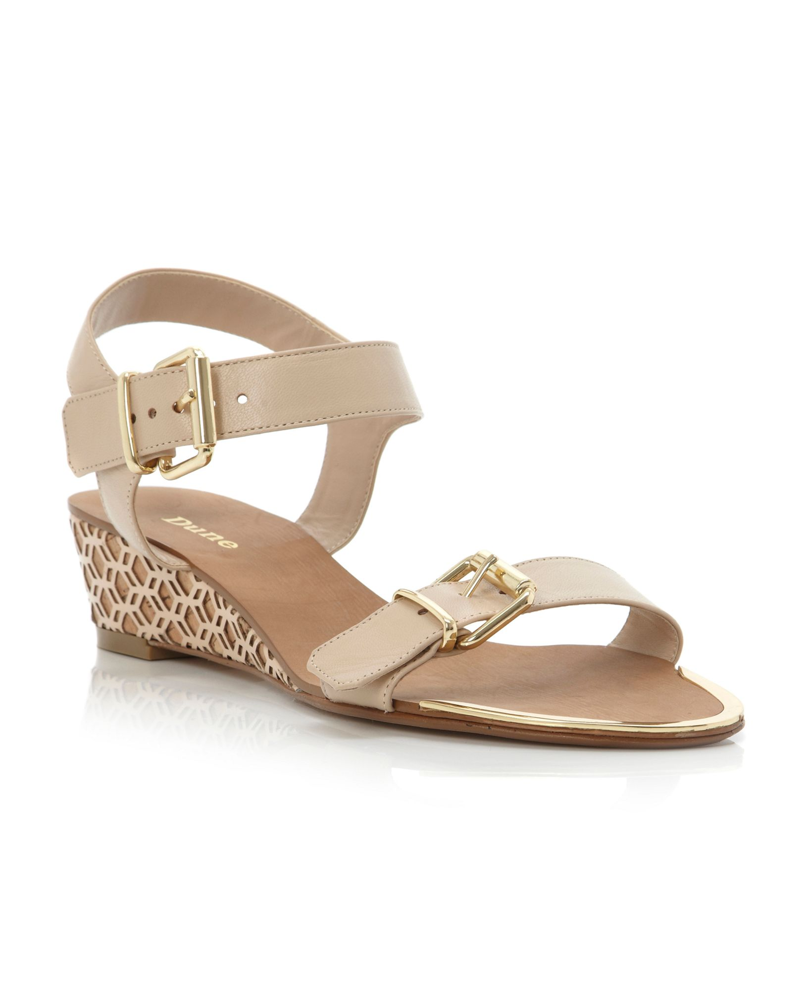 dune geesha laser low wedge sandals in brown lyst
