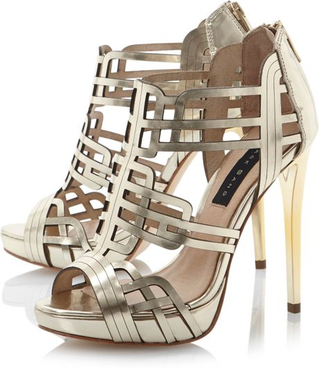 Dune Hola Mirror Gladiator Sandals In Silver Gold Lyst