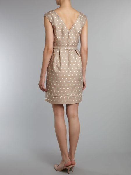 Eliza J Spotted Jaquard Belted Dress In Beige Taupe Lyst