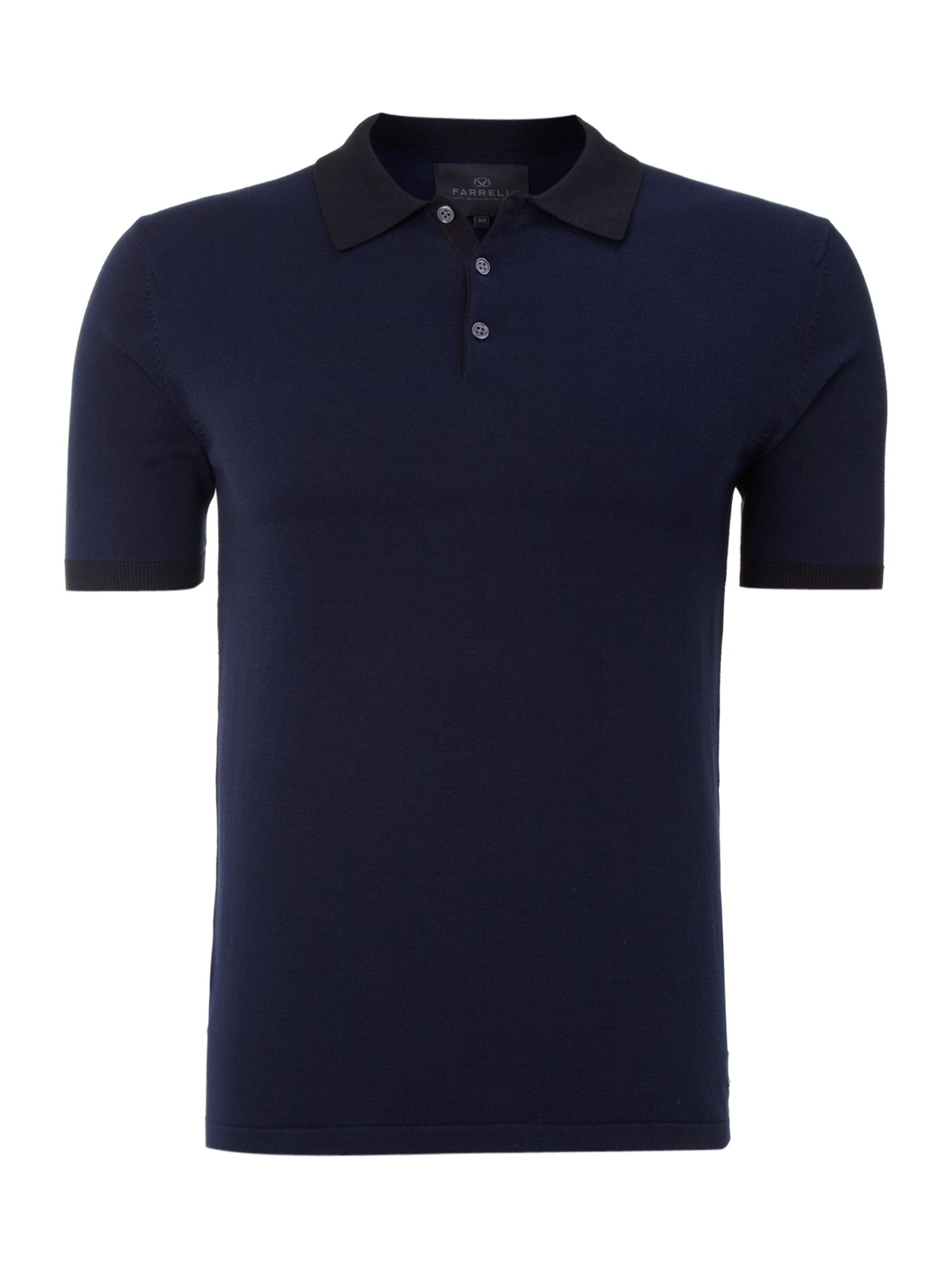 Farrell knitted polo shirt in blue for men midnight lyst for Knitted polo shirt mens