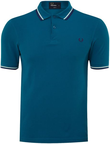 Fred perry slim twin tipped polo shirt in blue for men for Mens teal polo shirt
