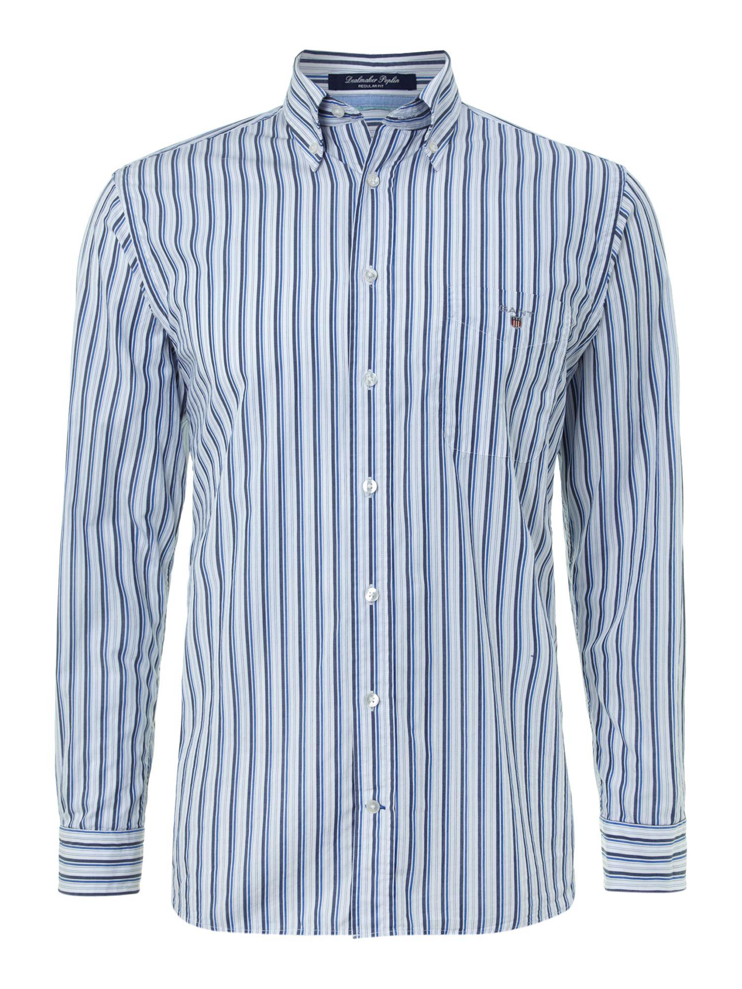 Gant Long Sleeved Striped Shirt In Blue For Men Light