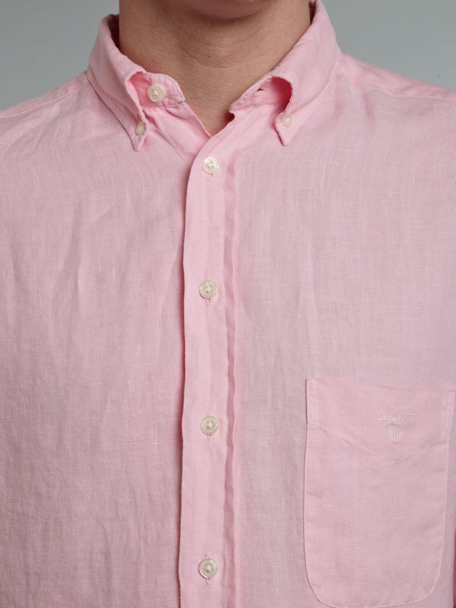 Gant long sleeved linen shirt in pink for men lyst for Mens pink long sleeve shirt