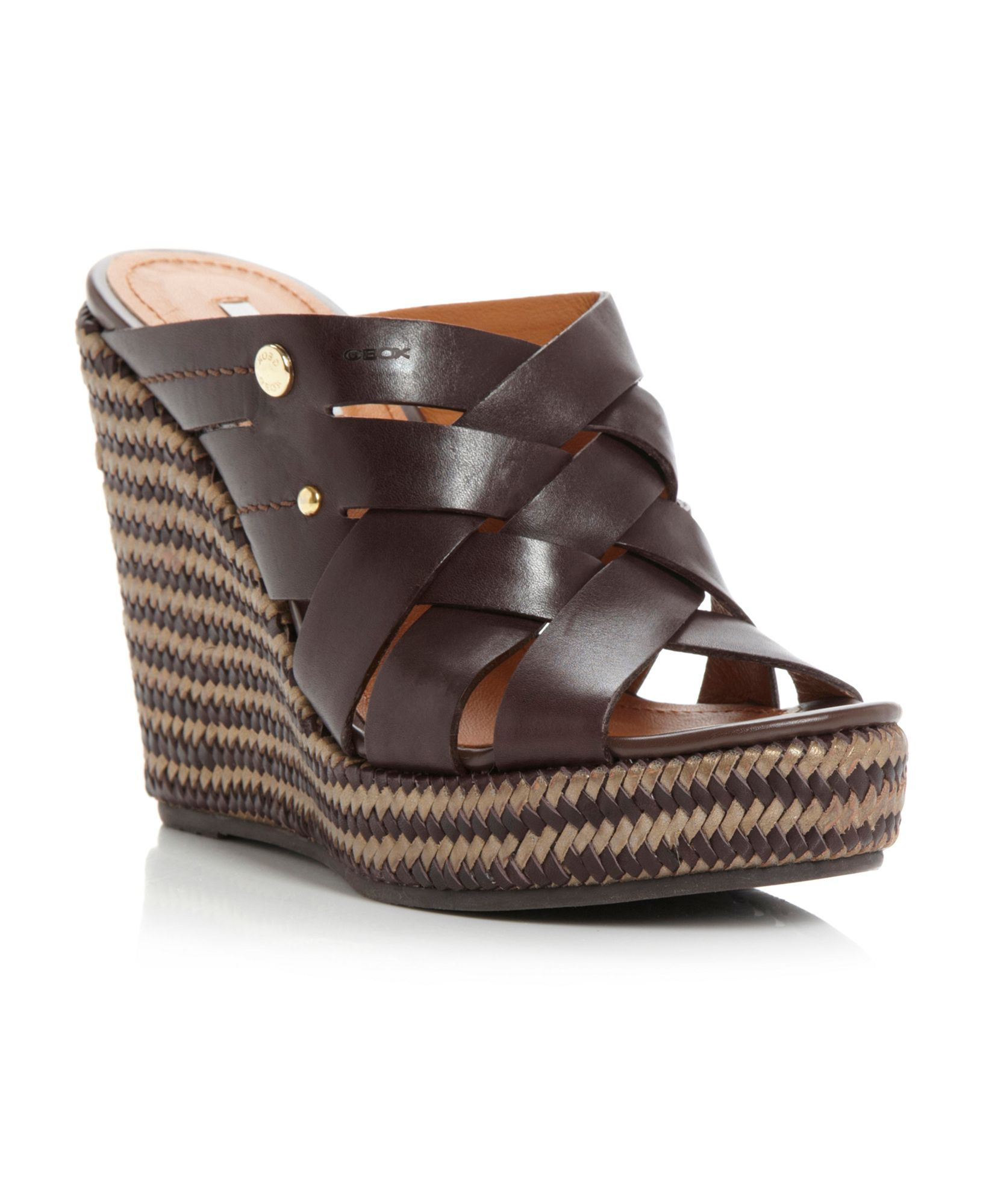geox peonia raffia wedge sandals in brown lyst
