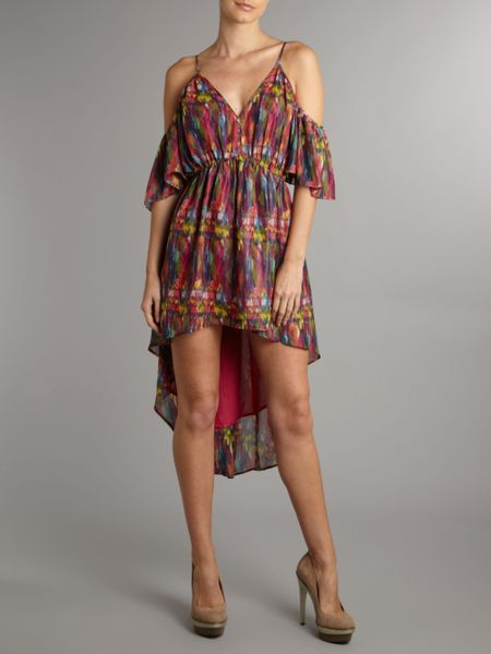 House Of Dereon Off The Shoulder Printed Dress In