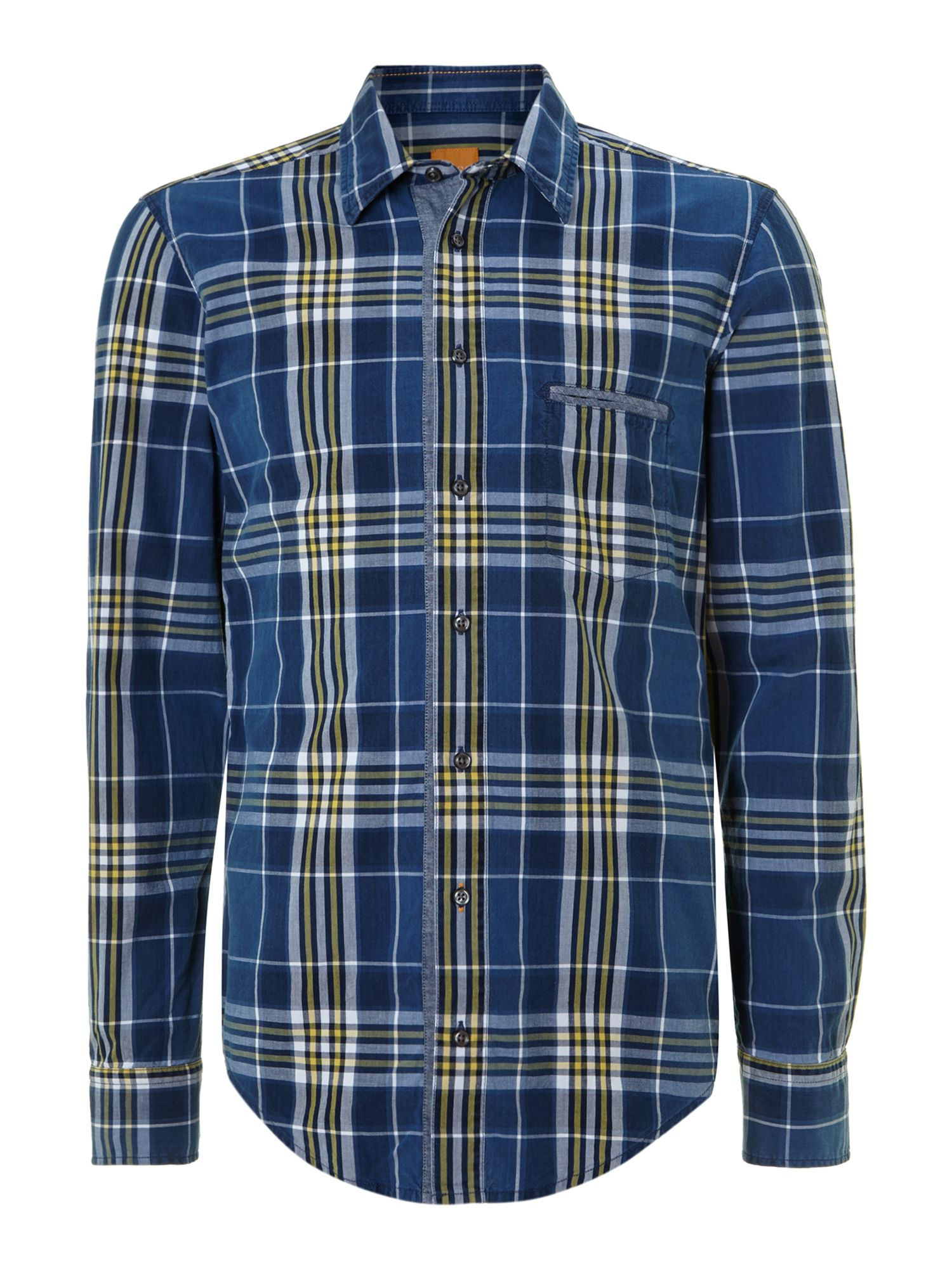 hugo boss blue check shirt in blue for men navy lyst. Black Bedroom Furniture Sets. Home Design Ideas