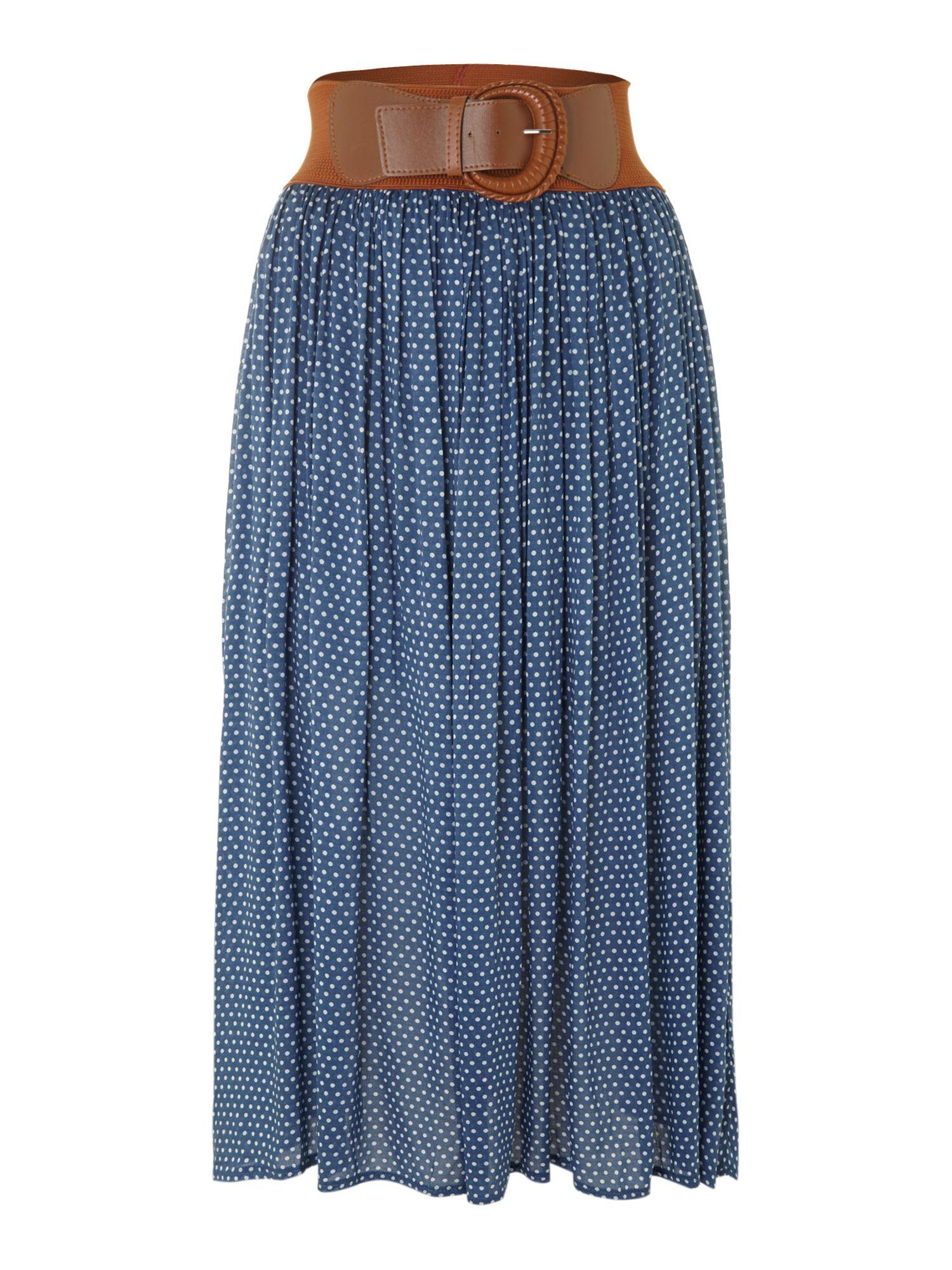 izabel polka dot midi skirt in blue lyst