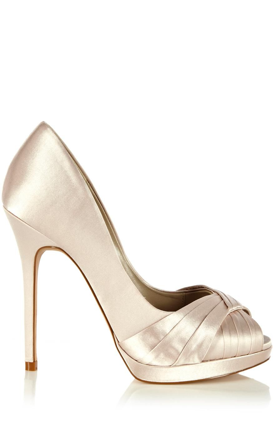 millen pleated satin peep toe platform shoes in gold