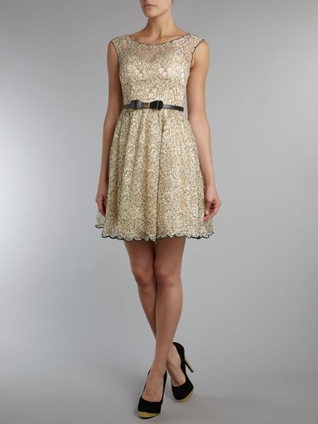 Little Mistress Sleeveless Lace Fit And Flare Dress In