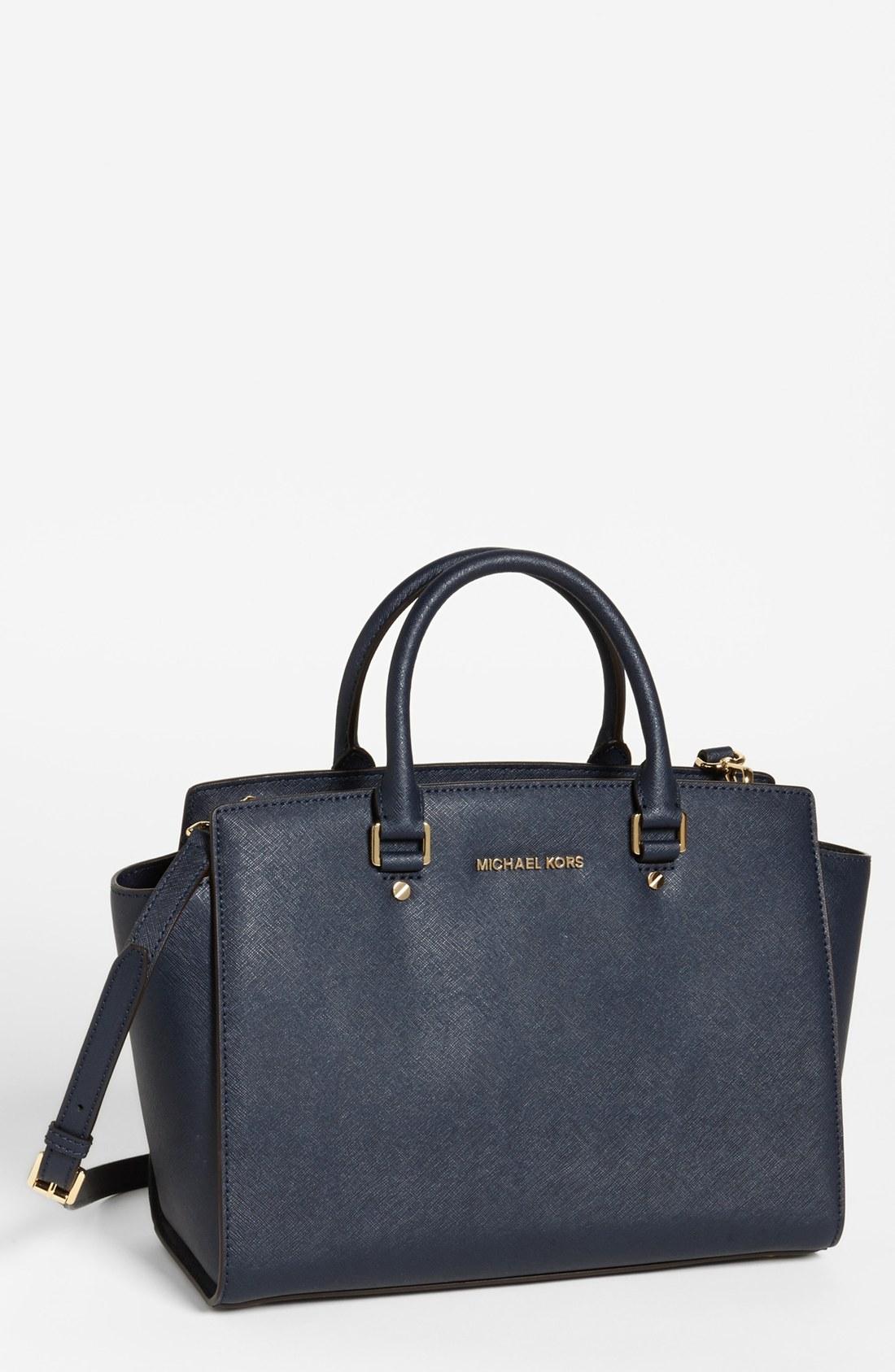 michael michael kors 39 large selma 39 zip top satchel in blue navy lyst. Black Bedroom Furniture Sets. Home Design Ideas