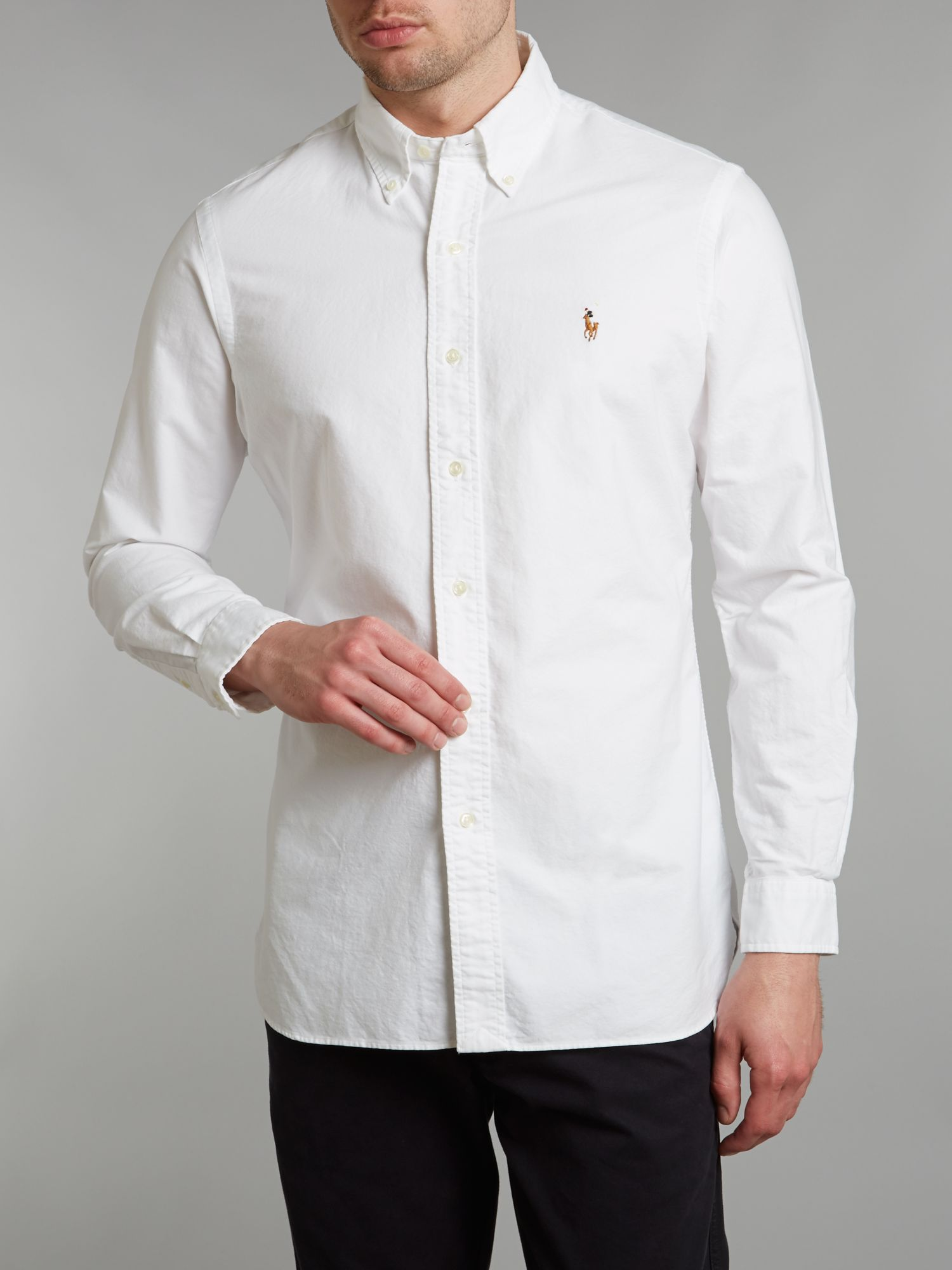 polo ralph lauren long sleeved slim fit oxford shirt in