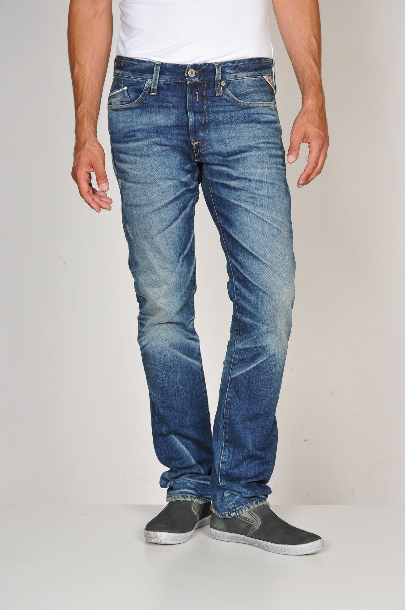 replay waitom 502 regular slim fit jeans in blue for men lyst. Black Bedroom Furniture Sets. Home Design Ideas