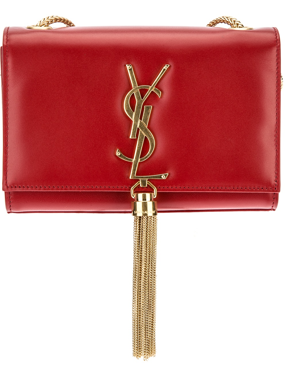 ad016007fa Lyst - Saint Laurent Small Cassandre Tassel Shoulder Bag in Red