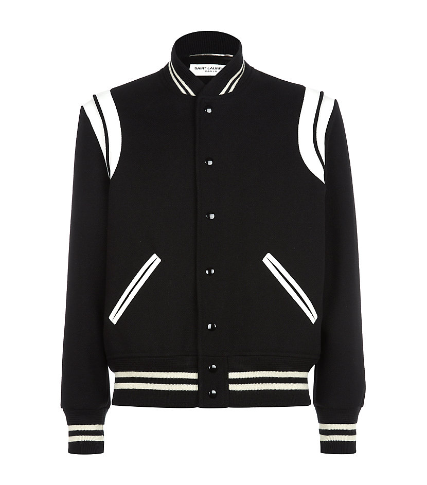 Saint laurent Teddy Baseball Jacket in Black for Men | Lyst