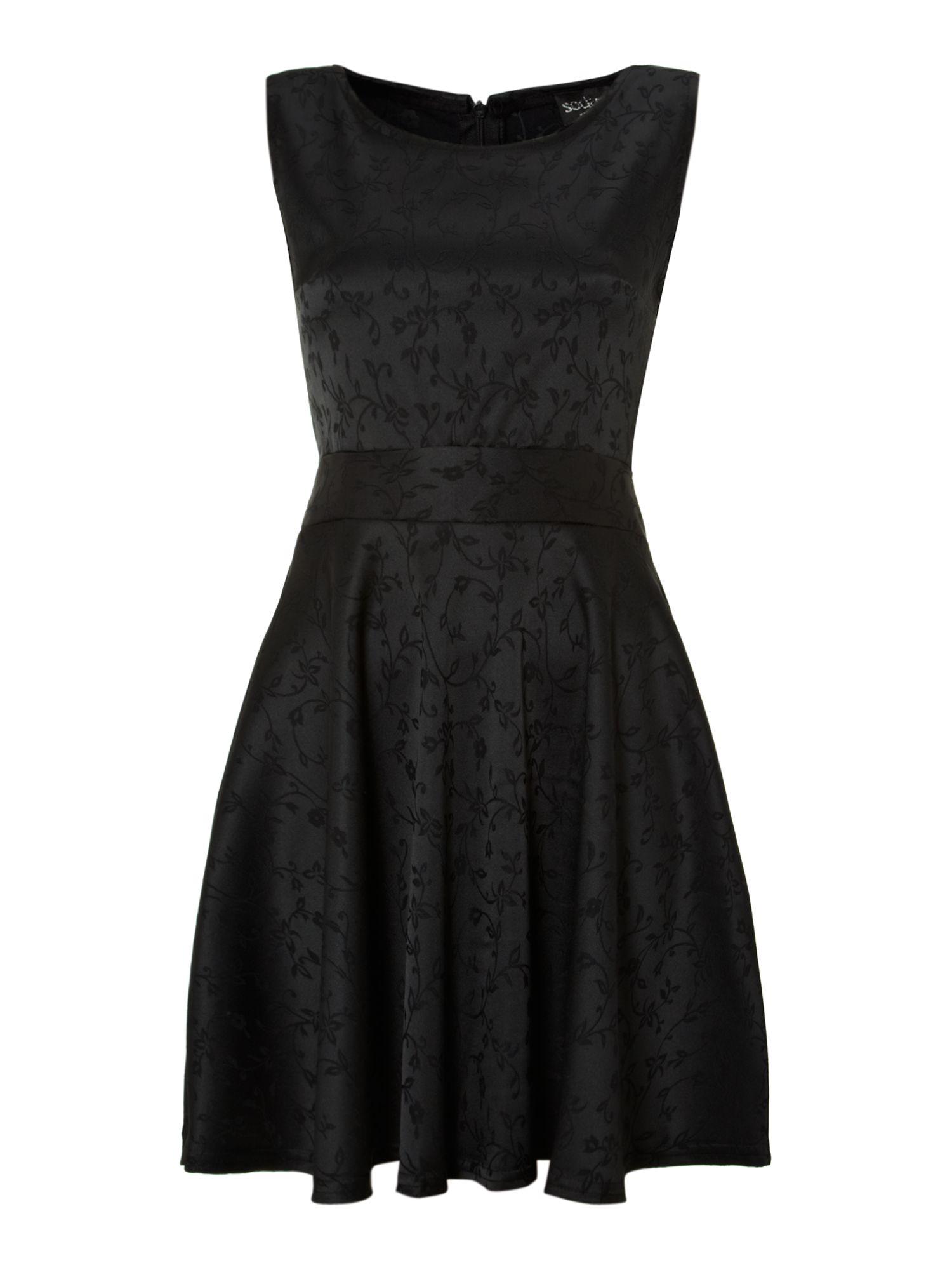 sodamix satin belted skater dress in black lyst