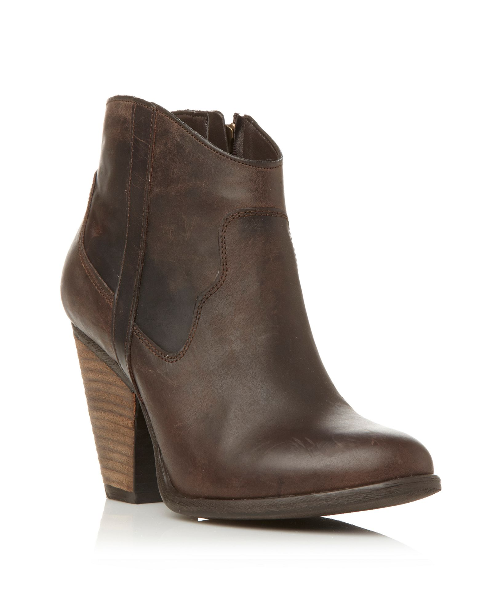 steve madden riffle cowboy ankle boots in brown lyst