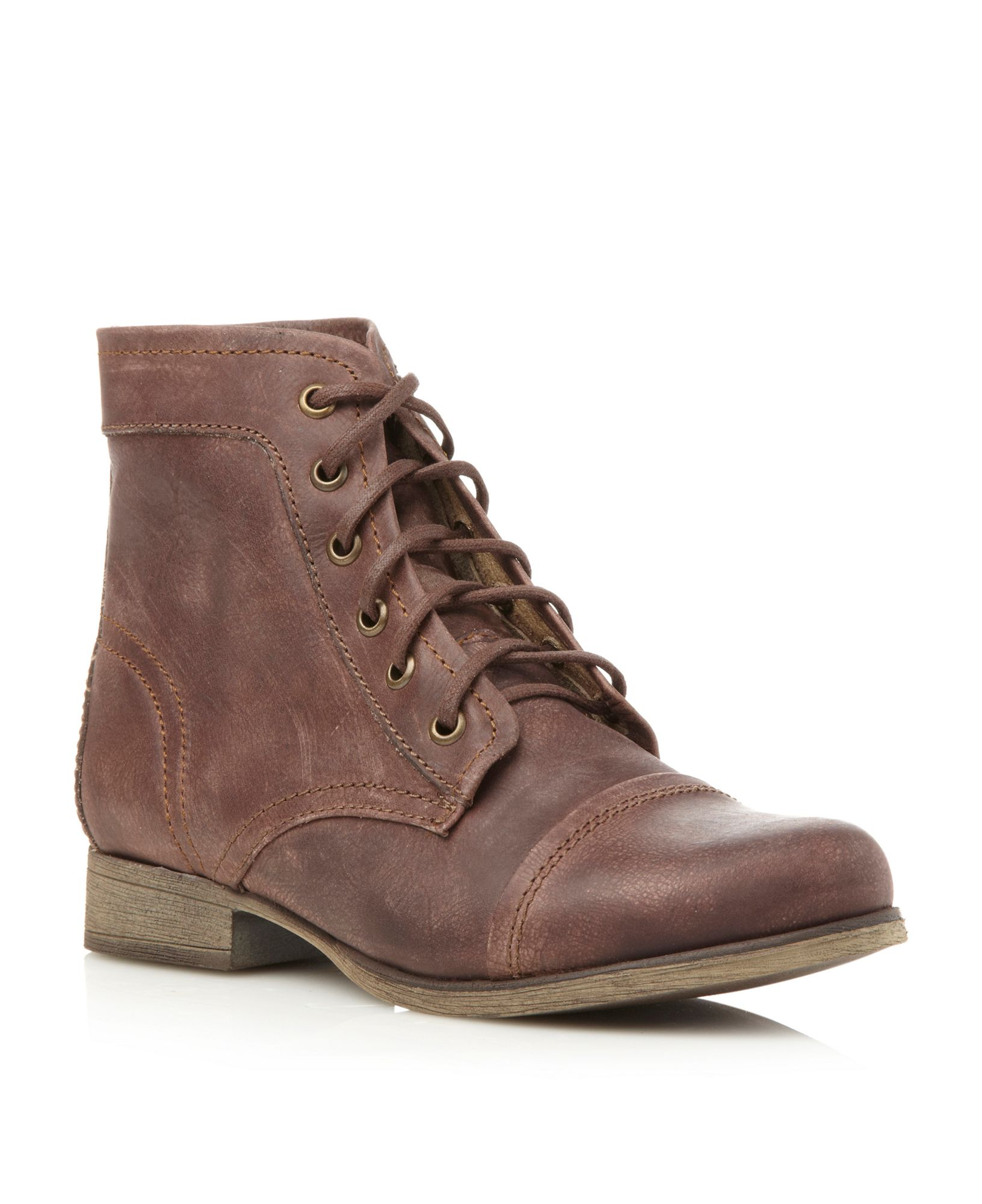 steve madden thunderr lace up worker boots in brown for