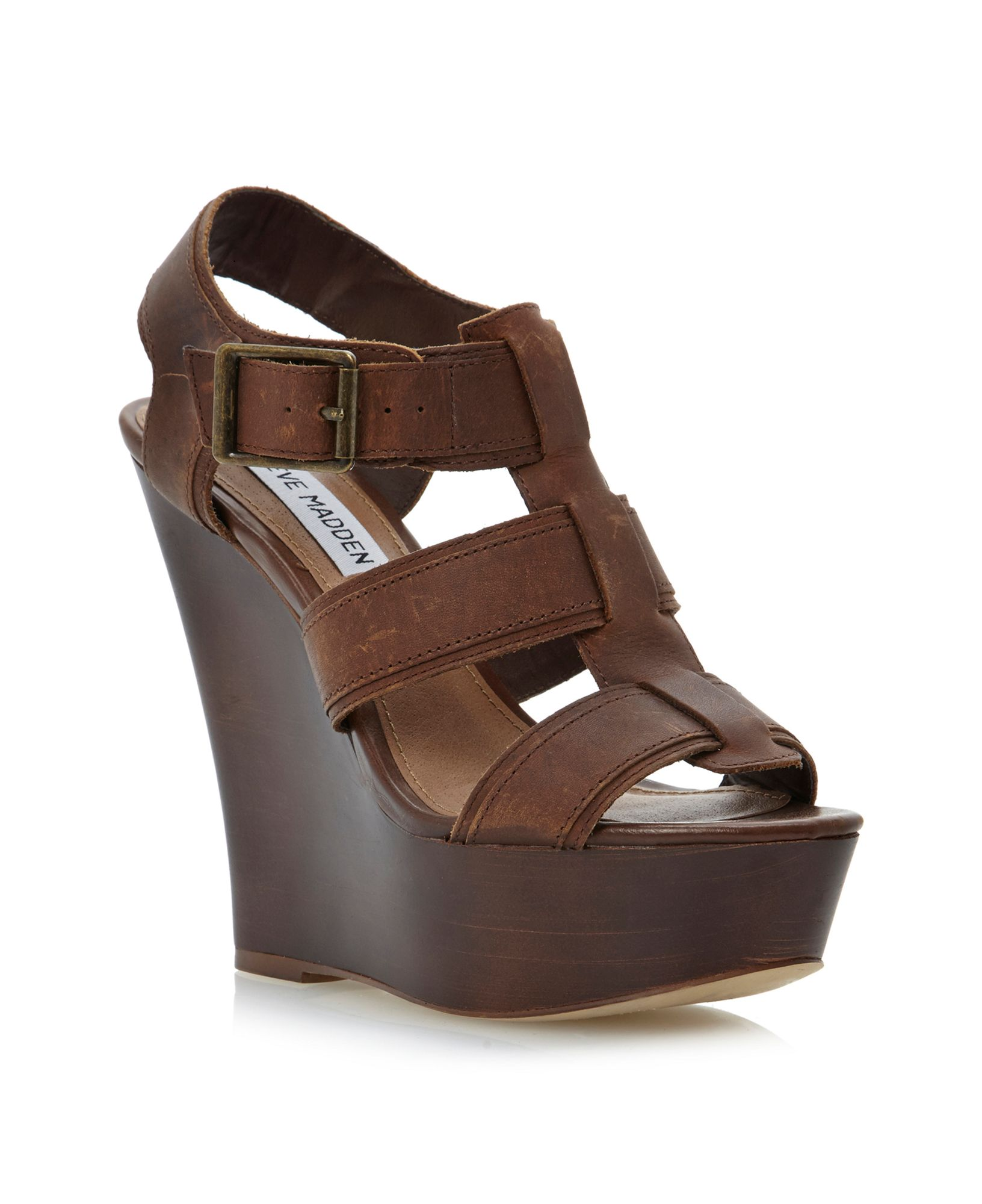 Steve Madden Wanting Thick Strap Caged Wedge Sandals In