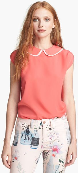 Ted Baker Layered Collar Top in Pink (Coral) - Lyst