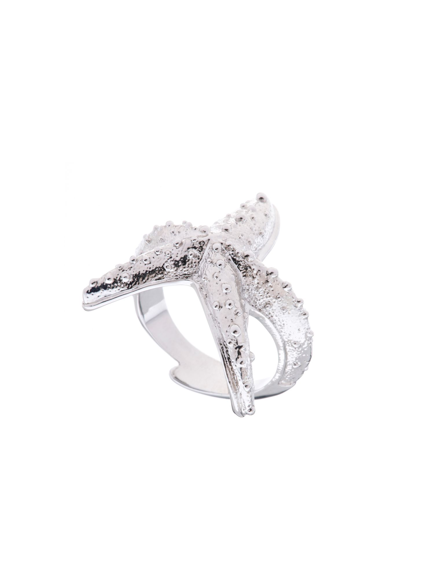 ted baker avary silver starfish ring in metallic lyst