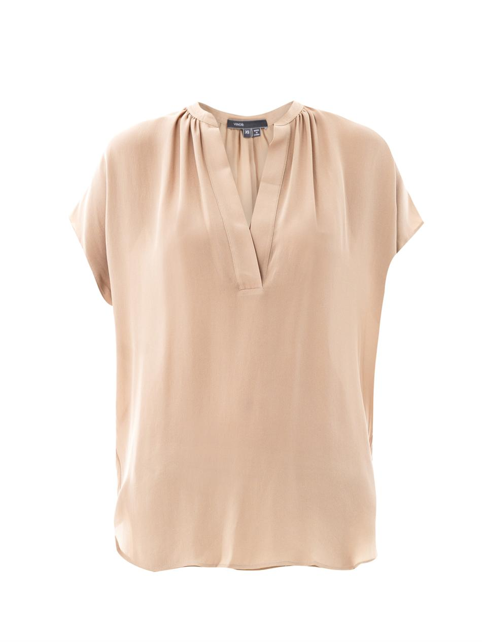 Lyst Vince Silk Blouse In Natural