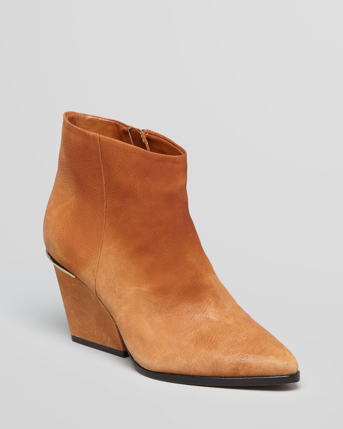 Boutique 9 Pointed Toe Wedge Booties Soke Low Heel in Brown | Lyst