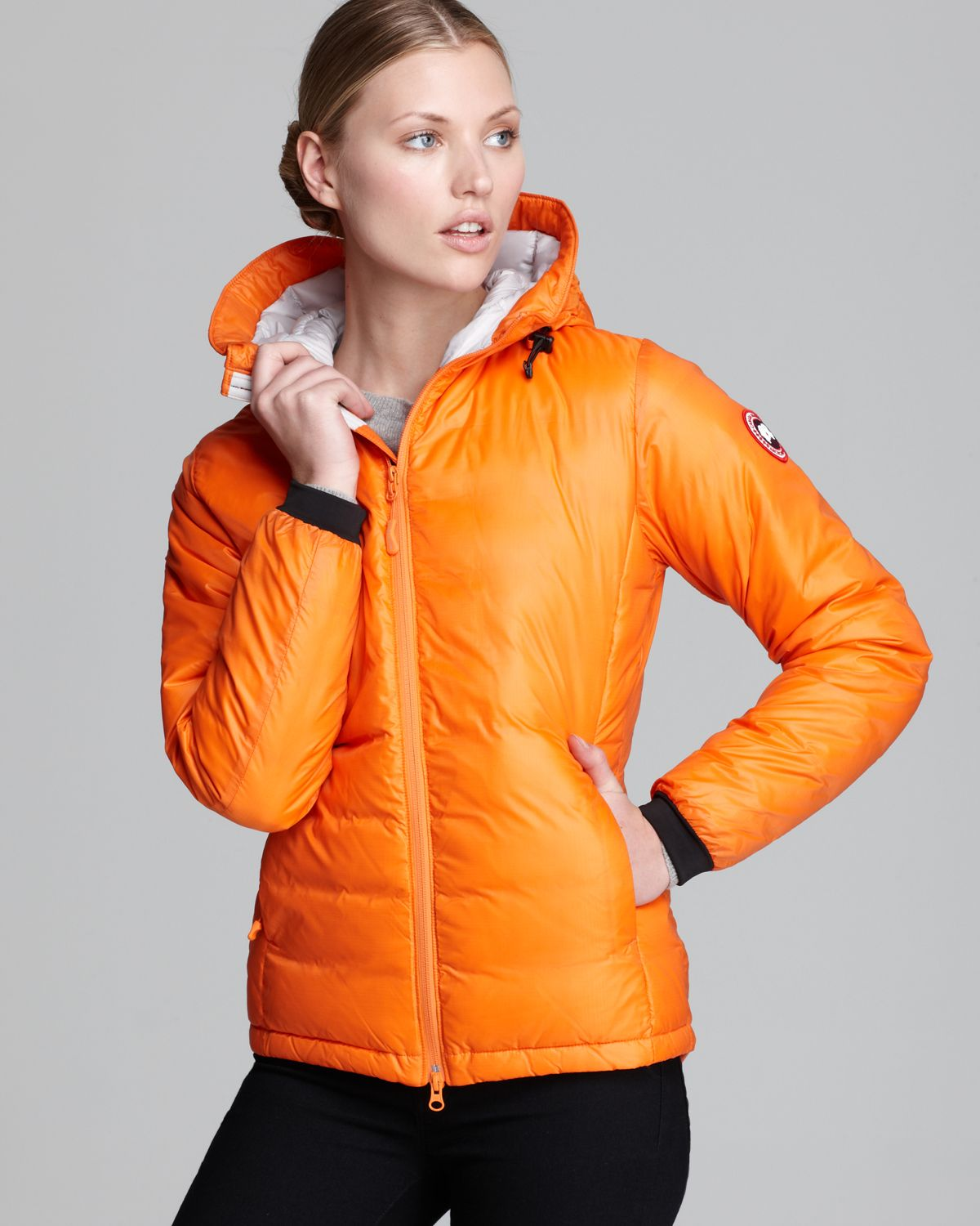 Canada Goose Down Coat Camp Hooded Lightweight In Orange