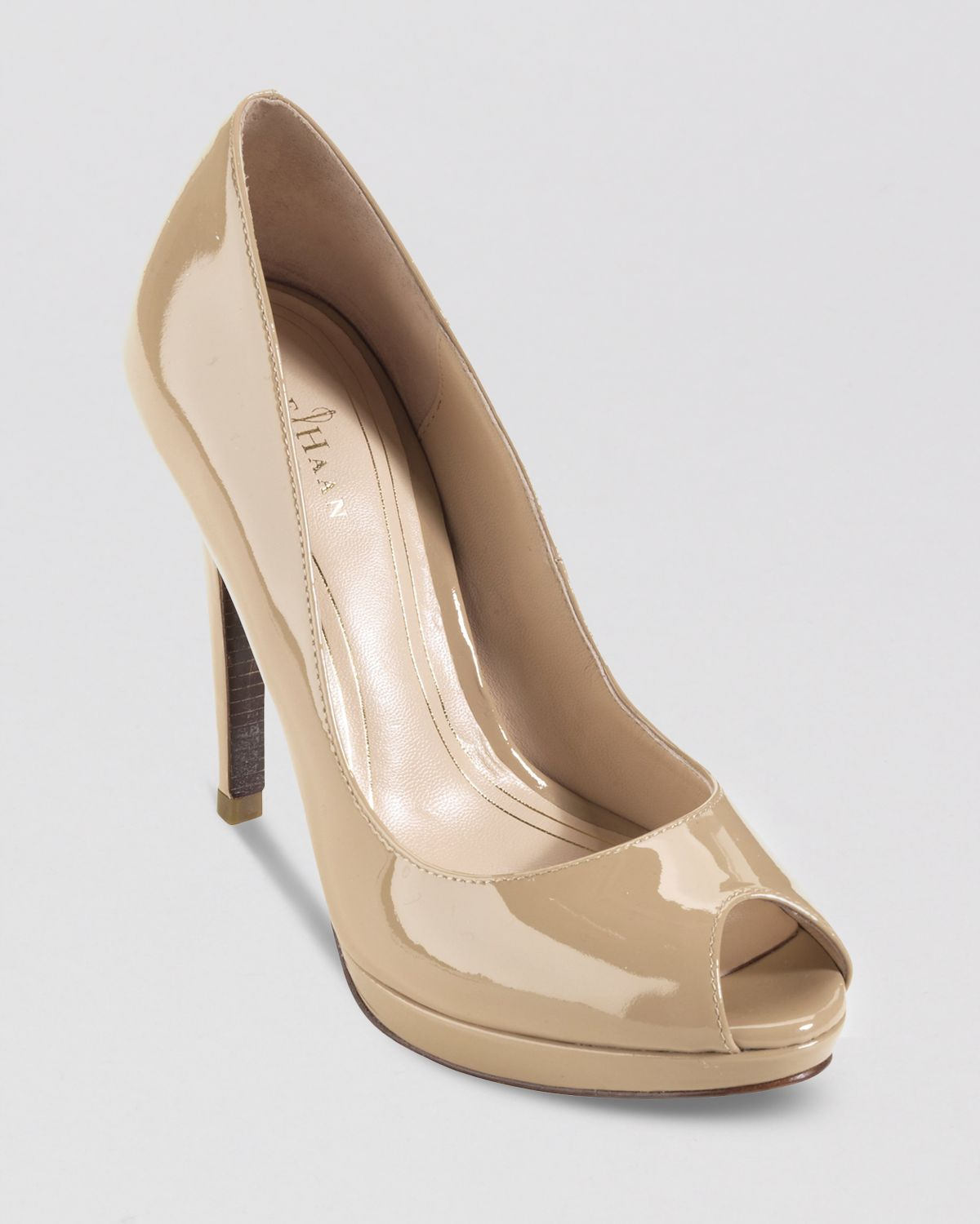 26edbf5a5d60 Lyst - Cole Haan Peep Toe Platform Pumps Chelsea High Heel in Natural