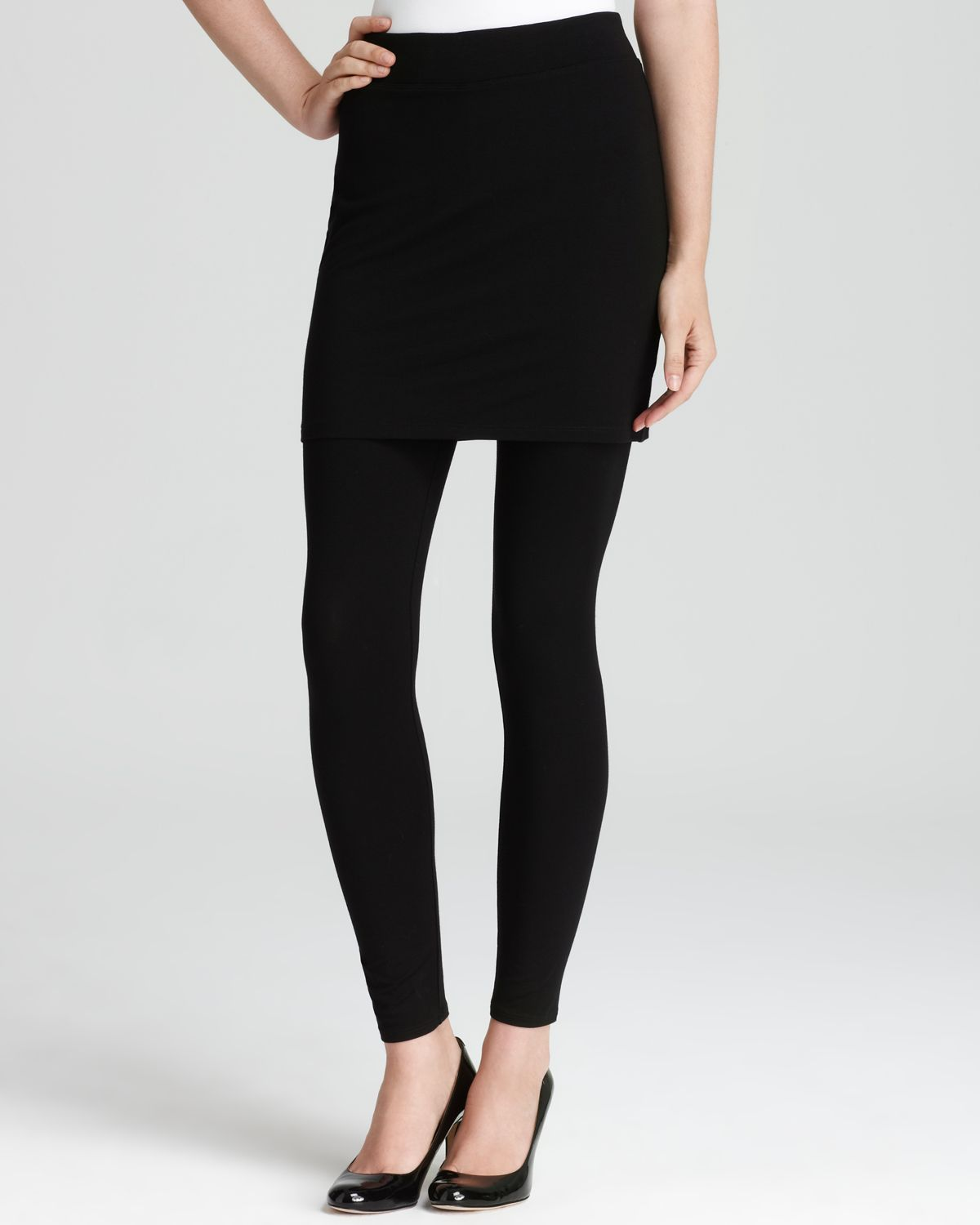 Lyst Eileen Fisher Viscose Jersey Skirted Ankle Leggings