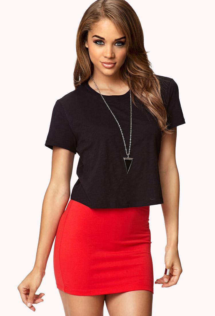 Lyst - Forever 21 Basic Mini Skirt in Red - photo #35