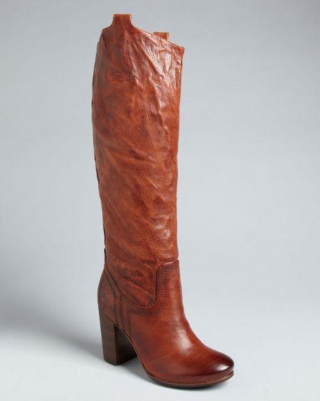 frye tab boots carson high heel in brown cognac lyst