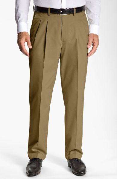 John w nordstrom smartcare pleated supima cotton pants for Nordstrom men s dress shirt fit guide