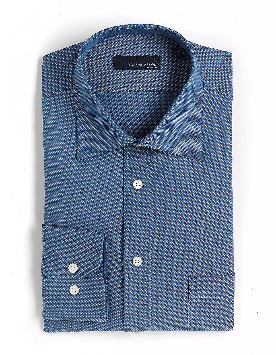 Joseph abboud cotton spread collar dress shirt in blue for for Mens wide collar dress shirts