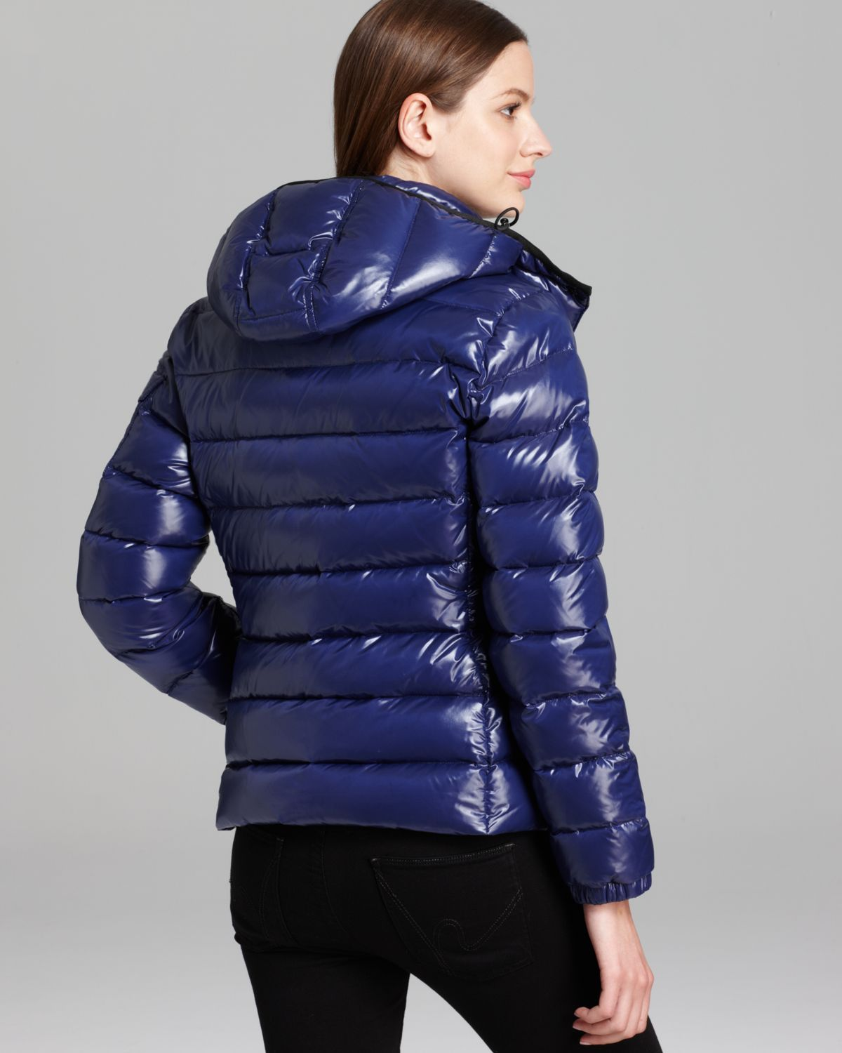 Moncler Goose Bady Lacquer Hooded Short Down Coat In Navy
