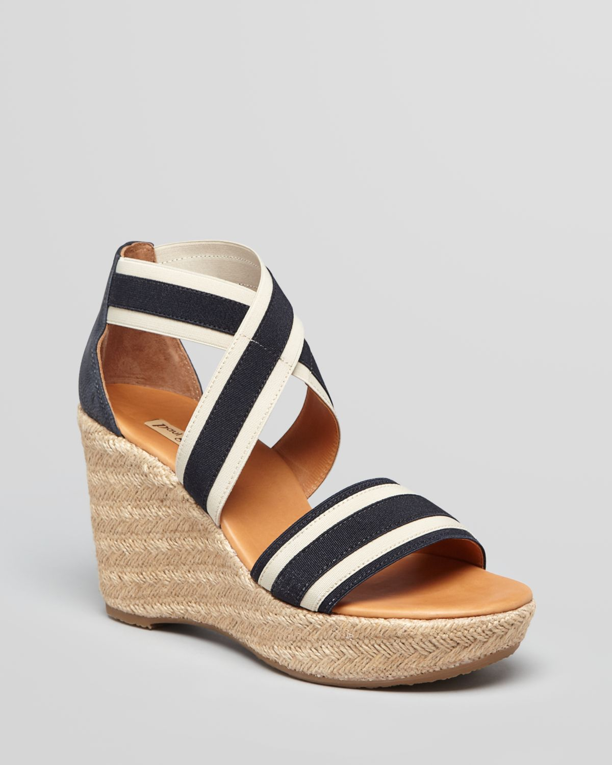 paul green espadrille wedge sandals in black lyst