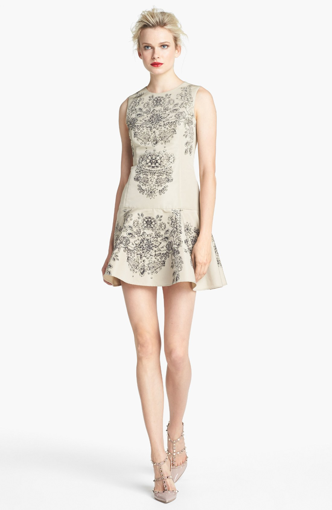 Red Valentino Spring 2016: Red Valentino Floral Print Drop Waist Dress In Beige (Sand