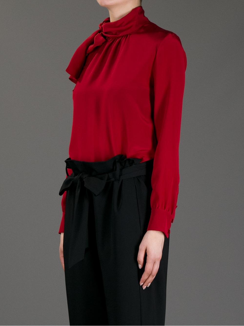 3a809490b9799f Lyst - Saint Laurent Silk Blouse in Red